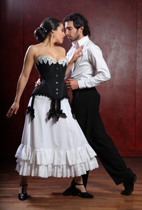 Tango Mode der Jahrhundertwende - Tangolehrer Silvio Grand und Model von entre nous, Cindy, in der Kreation von Beata Sievi , Bild: Giorgio von Arb