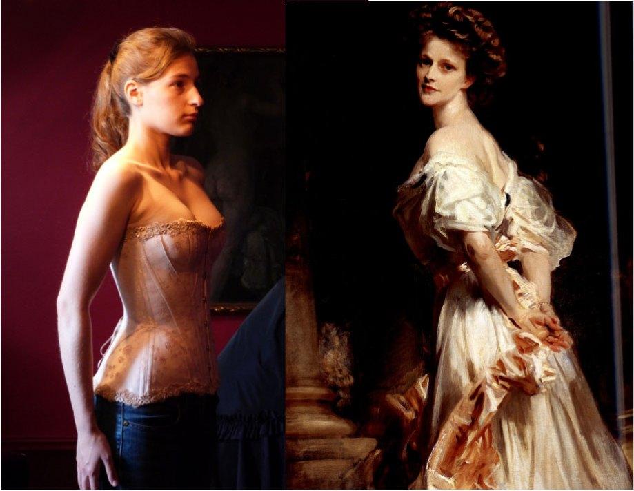 """Sophie in ihrem neuen Korsett von """"entre nous"""" und das Bild von Nancy Astor vom John Singer Sargent aus dem Jahr 1906"""