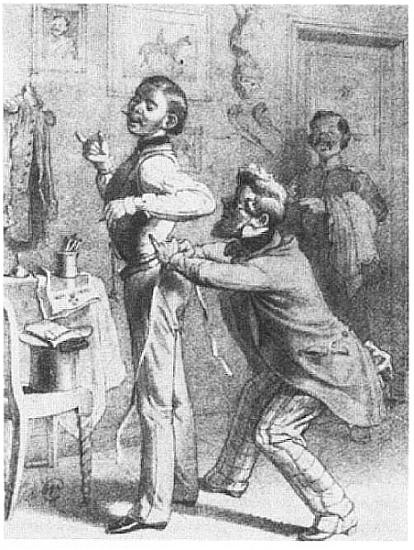 """""""Size 13 - on my honor Herr Baron, we seldom see that here in Berlin."""" Aus: Die Mode in der Karikatur 1855"""