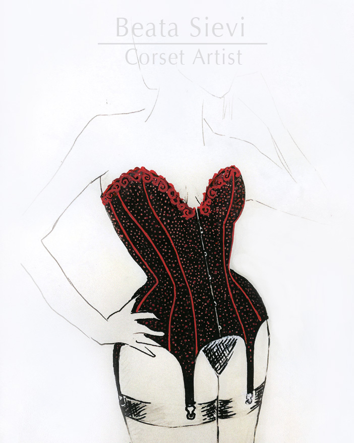 "Boudoir-Korsett von Beata Sievi - definitiver Entwurf, Atelier ""entre nous"", November 2014"