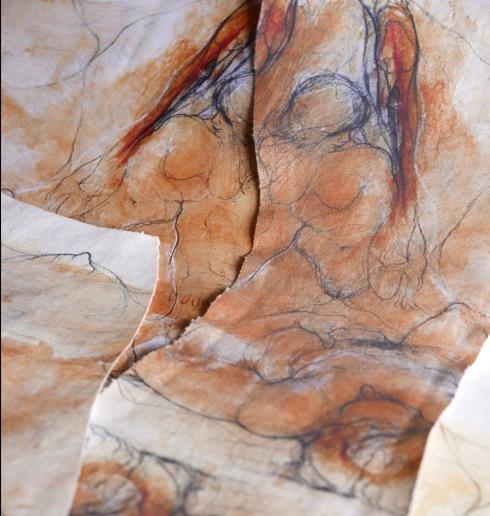 """Artist, """"L'histoire de l' Oeil"""", 2008, Entwurfsphase - Stoffdruck mit Bildern von Raffael Dussan"""
